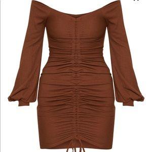 Chocolate Brown Ribbed Bardot Balloon Sleeve Dress